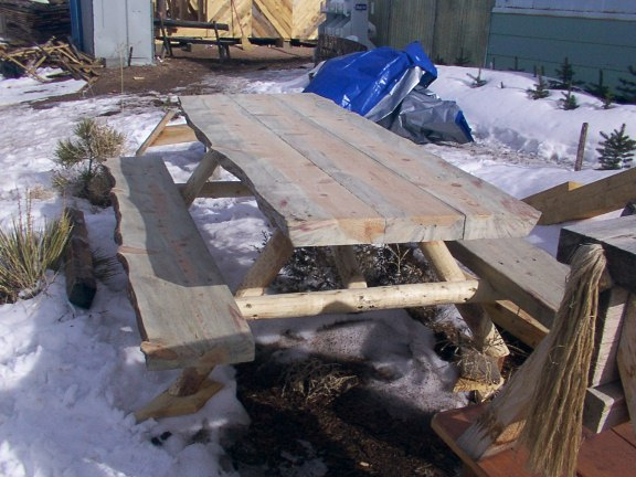 Beetle Kill Thick Picnic Table Hand Made by Greenleaf Craftsmen