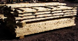 Stack of rough cut sawn lumber