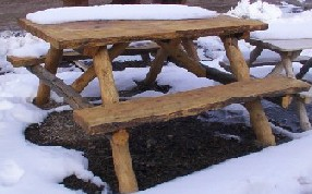 Log and Slab Wooden Picnic Table Hand Made by Greenleaf Craftsmen