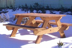Classic Wooden Picnic Table with Rough Sawn Boards by Greenleaf Craftsmen