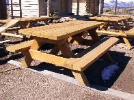 Classic Wooden Picnic Table with Rough Sawn thick Top Hand Made by Greenleaf Craftsmen